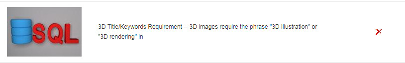 "3D Title/Keywords Requirement -- 3D images require the phrase ""3D illustration"" or ""3D rendering"" in"